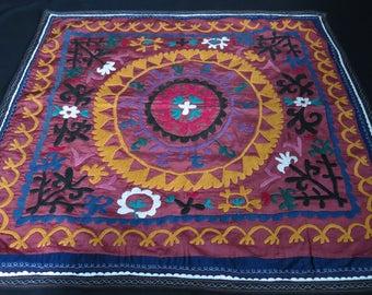 Uzbek silk embroidery wall hanging