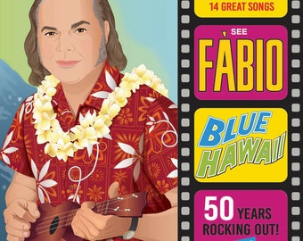 Custom portrait. Elvis Cover. Blue Hawaii. One person + movie strip with Text.  Digital Illustration 31 x 31 cm.