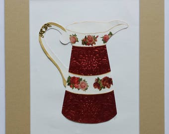 Original paper collage matted for hanging – Pitchers & Bowls Series #14