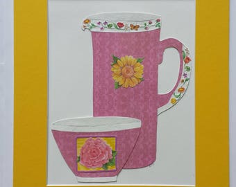 Original paper collage matted for hanging – Pitchers & Bowls Series #38