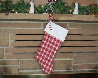 Red Flannel Stocking, Plaid Stocking, Red Plaid Stocking, Handmade Stocking, Rustic Christmas, Holiday Decor, Holiday Stocking