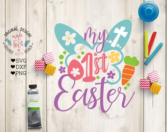 Easter Kids svg, Easter SVG, My First Easter Cut file in SVG, DXF, png, First Easter svg, Easter Cut File, Easter Bunny svg, Silhouette,