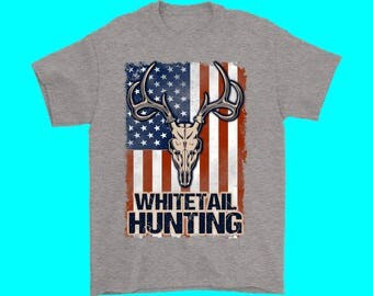 American Flag Whitetail Hunting T-Shirt Sizes S-5XL Seven Color Choices Deer Hunting Outdoors T-Shirt
