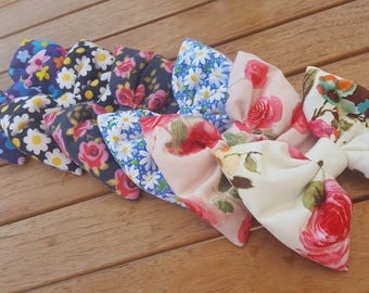 Flower Bow, Floral Print Hair Bow, Daisy, Rose, Spring Bow, Flowers