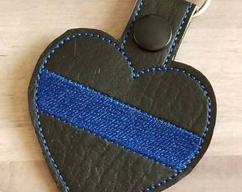 Police Week - Police Keychain - Thin Blue Line Keychain  - Thin Blue Line Heart - Police Gift - Police Wife - Back the Blue