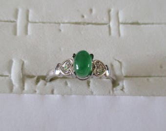 green jade and silver ring