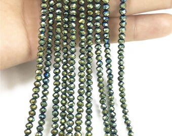 4x3mm  Faceted Green Glass Beads, Glass Rondelle Beads