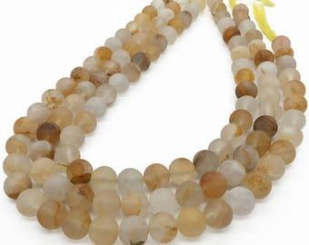 10mm Matte Yellow Quartz Beads, Round Gemstone Beads, Wholesale Beads