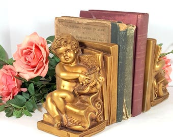GOLD CHERUB BOOKENDS Vintage Cherubs Shabby Chic Victorian Bookends Mid Century Hollywood Regency Paris Apartment Nursery Gold Bookends