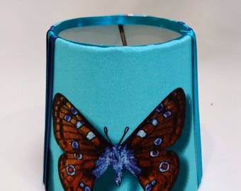 Blue butterfly lampshade, small candle-clip lampshade, ribbon lampshade