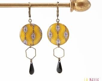 Resinees earrings round yellow wax print Hexagon