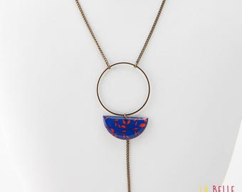 Necklace long pendant half moon resin blue and red floral pattern