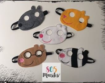 Peppa Pig Friends Inspired Masks, Peppa & Friends Inspired Masks, Peppa Pig birthday party, Peppa Pig party favor, Cosplay, Kids Masks