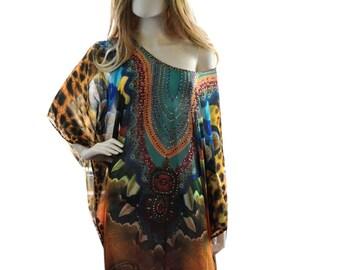 plus caftans, short kaftan dress, plus size/regular size dress, beach kaftan digital print embellished caftan dress, animal print