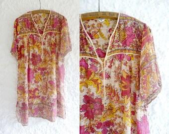 1970s indian gauze dress / Golden Garland dress / vintage indian cotton dress / bohemian indian dress / 70s vintage indian hippie dress