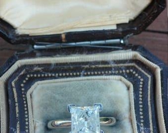 14k Gold 2ct Princess Cut Diamond Engagement Ring