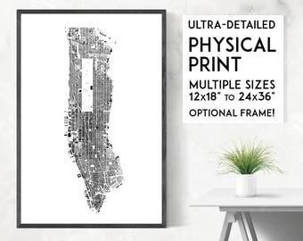 Buildings of Manhattan print | Physical New York map print, New York print, Manhattan poster, Manhattan map, NY wall art, NY print,