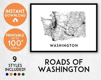 Washington map print, Printable Washington map art, Washington print, USA poster, Washington art, Washington poster, Washington wall art
