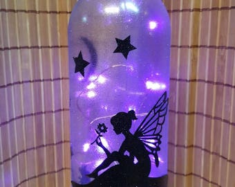 Fairy lighted wine bottle