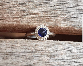 Silver ring 925 sterling silver with Iolite stone