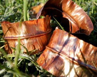 OOAK Copper Leaf Cuff, Copper Leaf Bracelet, Hammered Copper Cuff, Cuff Bracelet, Copper Jewelry, Forged Bracelet, Eco Friendly Gifts