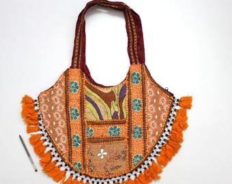 Handmade Ethnic Designer Tribal Banjara Patchwork Embroidered Hippy Fashionable Stylish Trendy Hippie Gypsy Boho Bohemian Shopper Bag F165