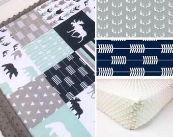MINKY CRIB SET, baby minky bedding, woodland bedding set, mint navy gray moose woodland crib set, bear blanket, baby shower gift