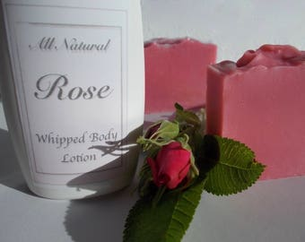 Rose Soap and Lotion Gift Set, Natural, Whipped Body Lotion, Cold Process Soap, Shea Butter, Organic Camellia Oil, Bath, Set, Gift for Her