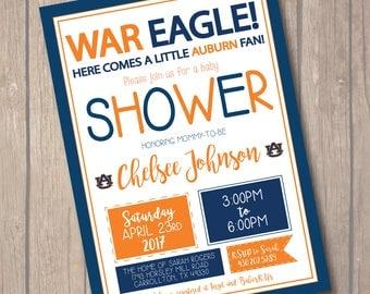 War Eagle Auburn Baby Shower Invitation