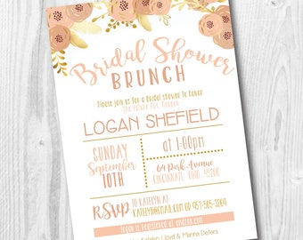 Bridal Shower Brunch Invitation - Gold and Blush Wedding Shower