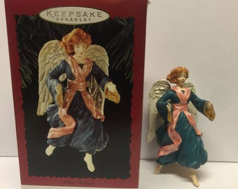 1996 Hallmark Keepsake, Glad Tidings Ornament, Christmas Angel Nativity, Vintage Blue Robes, Vintage Christmas Ornaments