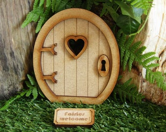 Round Fairy Door Craft Kit - Three-dimensional Wooden Fairy Door Kit with Fairy Window and 'Fairies Welcome' Doormat