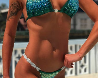 Green Metallic Spandex Bikini Suit with Crystals/Competition Suit/Posing Suit/Rhinestone Fitness