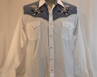 Vintage Pearl Snap Embroidered Ely Cattleman White & Blue Large Western Shirt