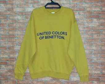Rare!!! Vintage United Colors Of BENETTON spellout Embroidery Sweatshirt Pullover Vtg Benetton Formula 1 Crewneck Italy jacket Gold Colour