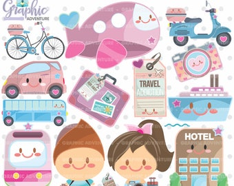 75%OFF - Travel Clipart, Travel Graphics, COMMERCIAL USE, Kawaii Clipart, Road Trip Clipart, Planner Accessories, Travel Party, Tourism