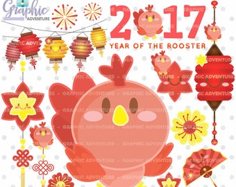 75%OFF - Chinese New Year Clipart, COMMERCIAL USE, Chinese New Year of the Rooster Clipart, New Year of the Rooster Clipart, Rooster Graphic