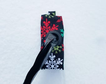 Colorful Snowflakes on Black Dog Poop Bag Holder - Christmas/Holiday/Winter Collection