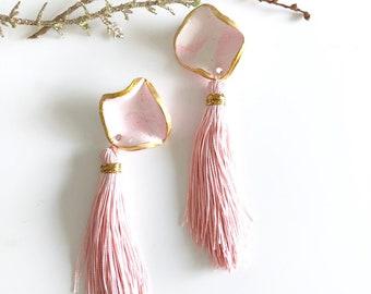 Pink Polymer Clay Earrings, Tassel Earrings, Statement Earrings.