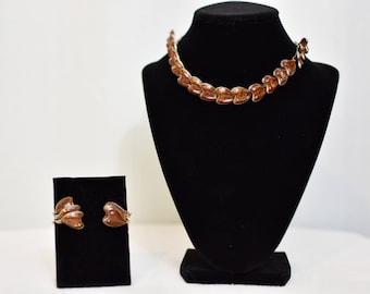 Amber Lucite Glitter Necklace & Earrings Set