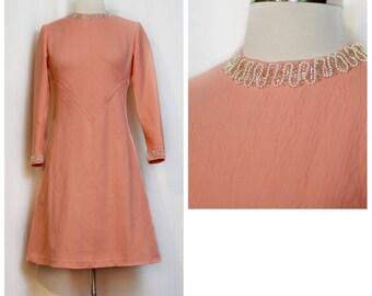 60s Mod Peach Beaded Dress