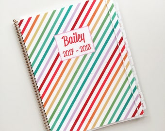 Kid Planner in Stripes School Year August 2017 - July 2018