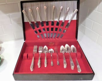 Vintage Silver Plate Flatware Set ...Simeone and George Rogers ...Pattern: SILVER ROSE 1940 ...5 Piece Place Setting ... Service for 8