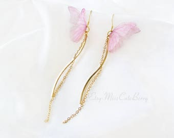 Butterfly earrings - Unique earrings - Long dangle earrings - Pink gold earrings - 925 silver - summer gift for her - Bridesmaid gift