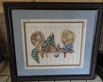 "Cross Stitch  ""Kitty on Shelf""  Framed"