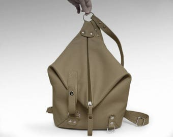 Beige Leather backpack purse minimalist Woman leather rucksack Leather Shoulder Bag college knapsack backpack leather bag Women's daily bag