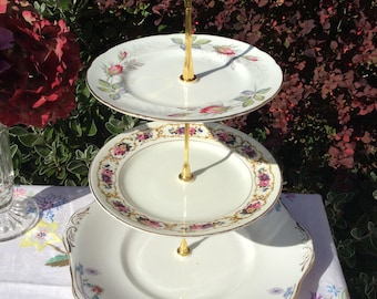 large vintage mismatched 3 tier standtiered stand