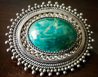 Vintage Silver and Malachite Brooch Pendant