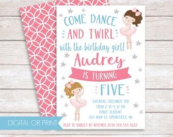 Ballerina Invitation, Ballet Birthday Invitation, Printed Invitation, Printable Invitation