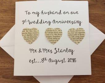 Personalised 1st Wedding Anniversary card - handmade first anniversary card - anniversary card for husband
